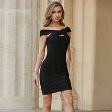 Sesidy Keyhole Crisscross Bardot Bandage Dress