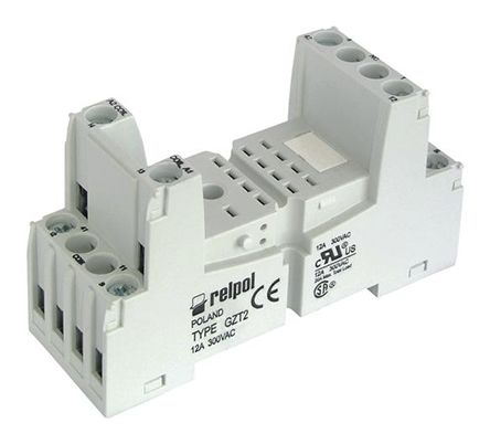 Relpol 2 Pin Relay Socket, DIN Rail for use with R2N Relay