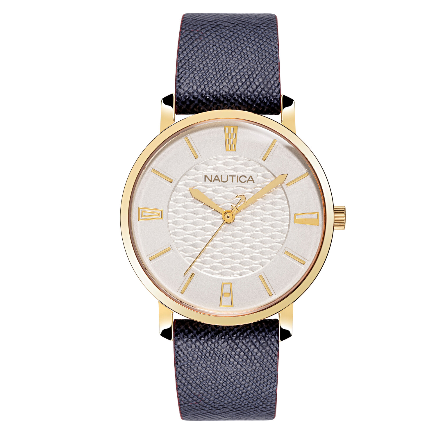 Nautica Watch NAPCGP903 Coral Gables, Analog, Water Resistant, Leather Strap, Adjustable Buckle, Snap Down Crown, Blue