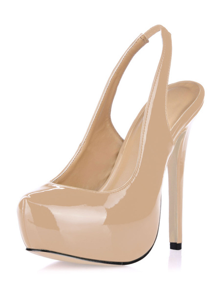 Milanoo Platform Slingbacks Patent Pumps Woman's High Heel Dress Shoes