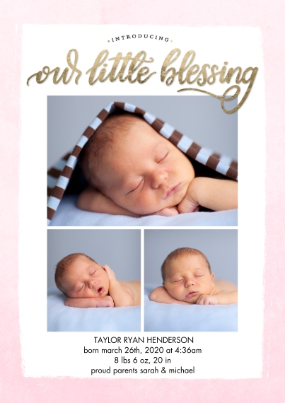 Baby Announcements 5x7 Cards, Premium Cardstock 120lb with Elegant Corners, Card & Stationery -Baby Blessing by Tumbalina