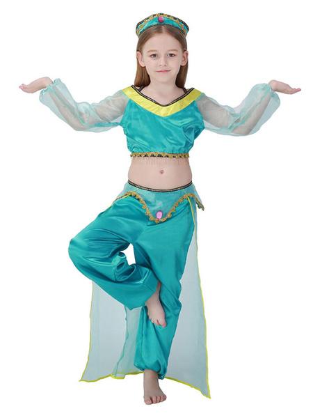 Milanoo Kids Belly Dancer Costume Halloween Little Girls Blue Green Dancing Costume Outfits