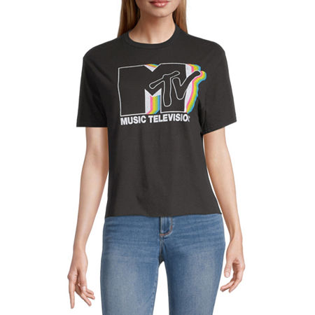 Juniors Mtv Womens Crew Neck Short Sleeve Graphic T-Shirt, X-large , Black