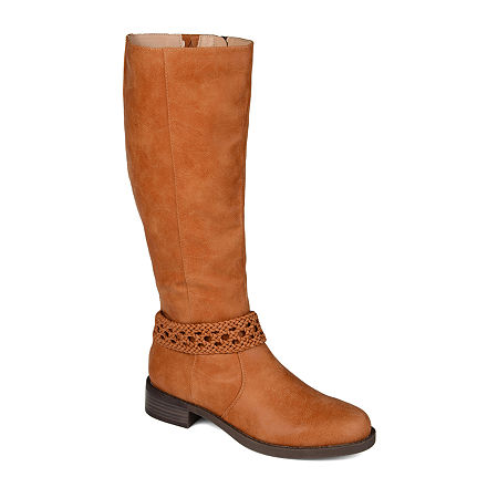 Journee Collection Womens Paisley Extra Wide Calf Stacked Heel Riding Boots, 9 Medium, Brown