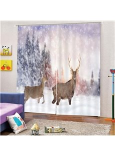 3D Print Blackout and Decorative Curtains with Elks in the Snow Design