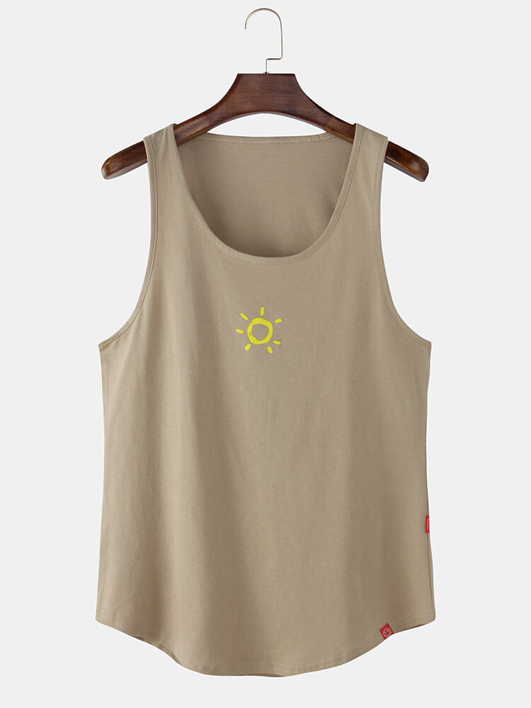 Mens Sun Pattern Print Plain Breathable Loose Sleeveless Tank Top