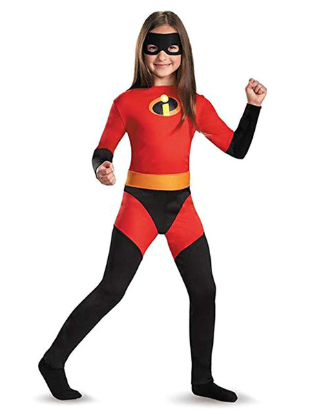 Milanoo Kids The Incredibles Cosplay Red Eye Patch Jumpsuit Lycra Spandex Kids Cosplay Costumes