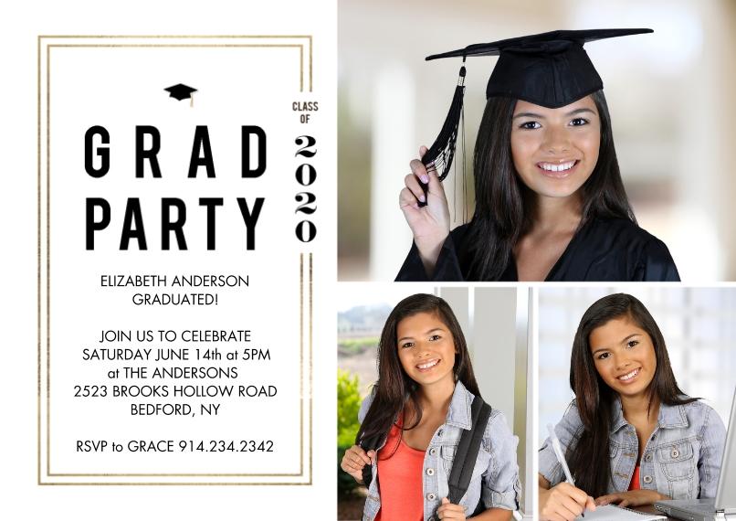 Graduation Invitations 5x7 Cards, Standard Cardstock 85lb, Card & Stationery -2020 Grad Party Woodgrain by Tumbalina