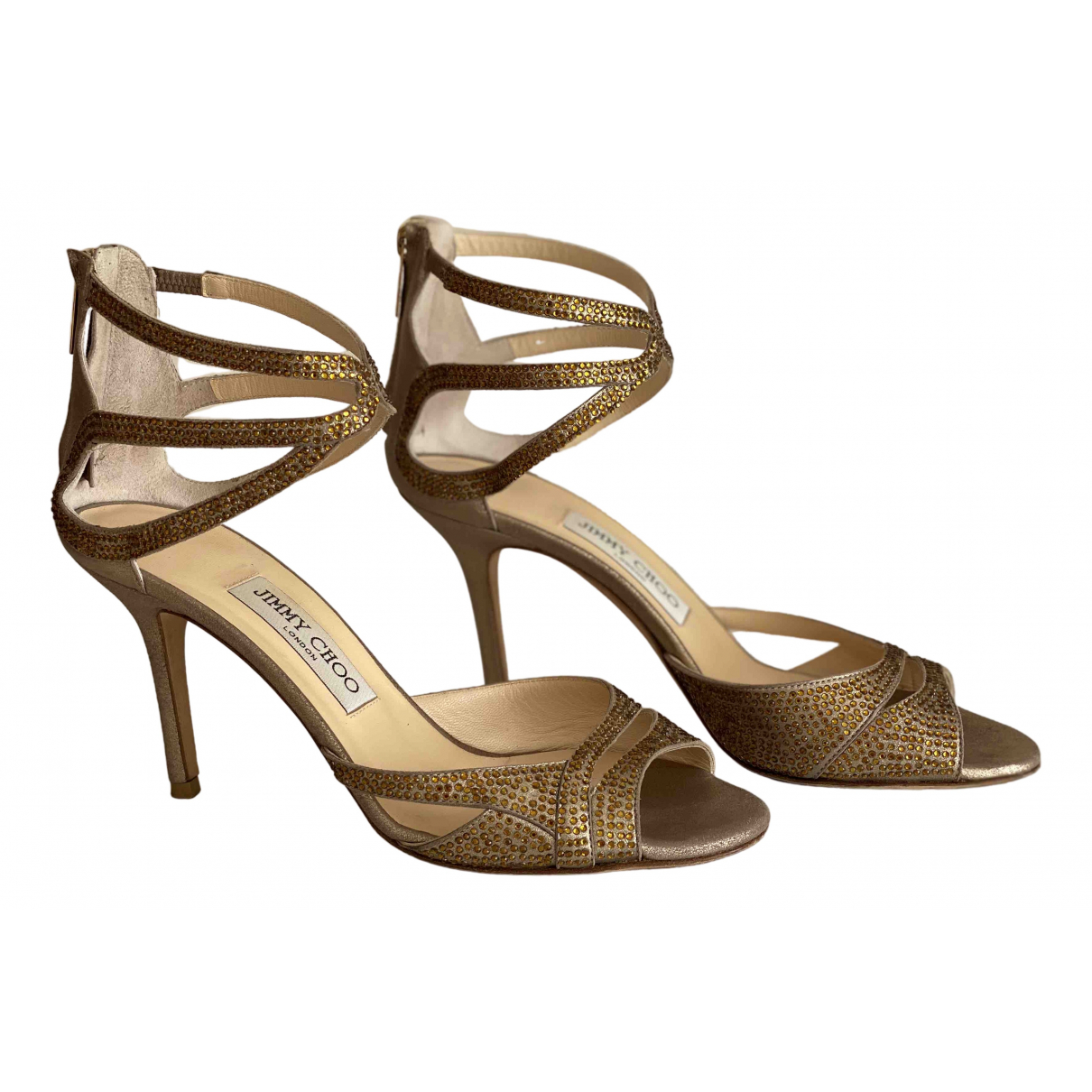 Jimmy Choo \N Gold Leather Sandals for Women 38.5 IT
