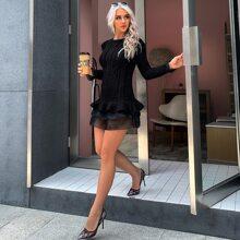 Mesh Ruffle Hem Cable Knit Bodycon Sweater Dress