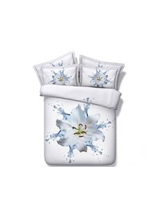 3D White Dewy Lily Printed 5-Piece Comforter Sets