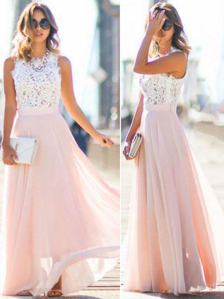 Milanoo White Lace &Chiffon Maxi Dress Two Tone Round Neck Sleeveless Pleated Long Wrap Dress