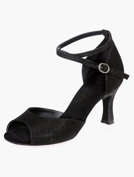Milanoo Glitter Ballroom Shoes Silver Peep Toe Criss Cross Latin Dance Shoes