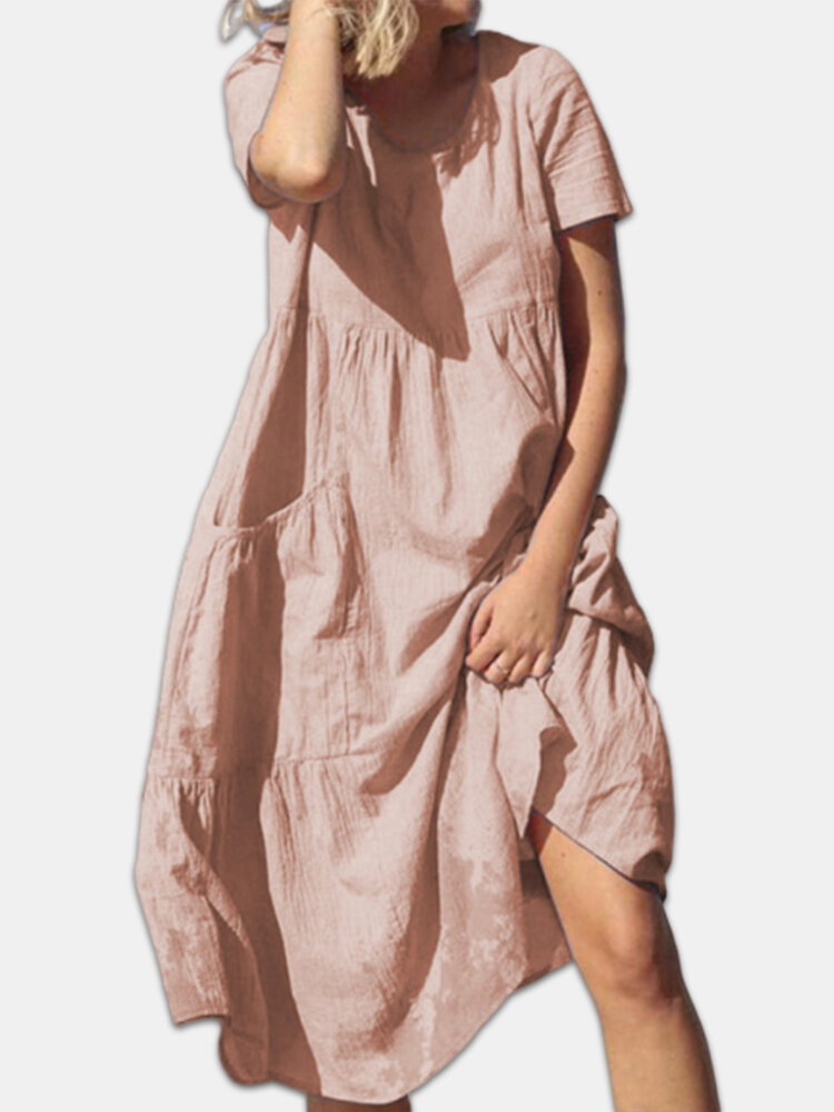 Cotton Pleated Short Sleeve Plus Size Dress with Pockets