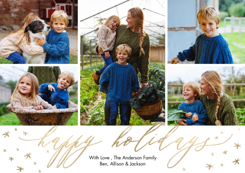 Holiday Photo Cards Flat Matte Photo Paper Cards with Envelopes, 5x7, Card & Stationery -Holiday Script Scattered Stars by Tumbalina