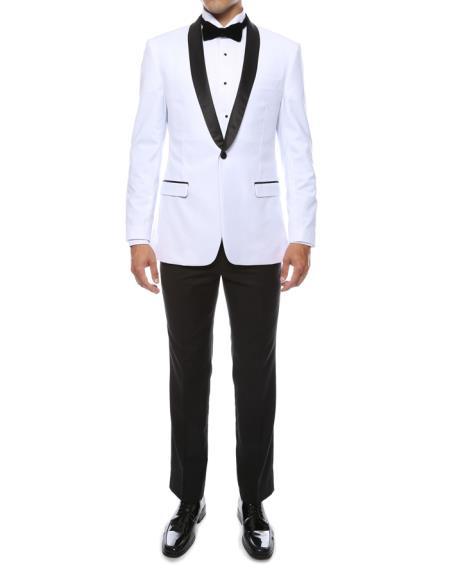 Men's 1 Button Shawl Lapel White 2Piece Breasted Slim Fit Tuxedo Suit