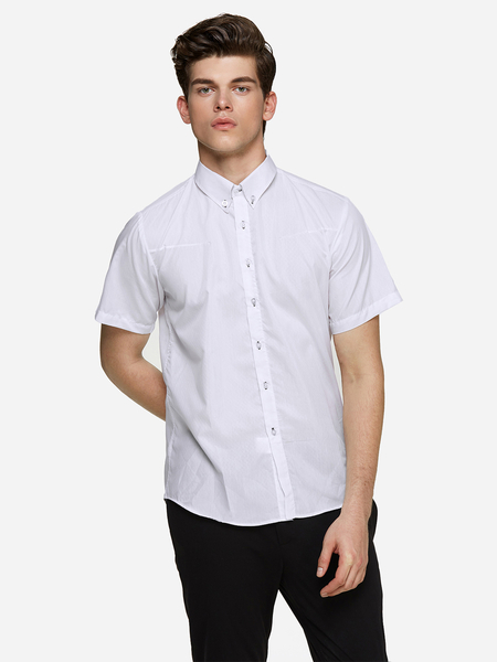 Yoins White Darker Rhombus Classic Collar Short Sleeve Men's Dress Shirt