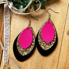 Three-Layered Sequined Leather Earrings