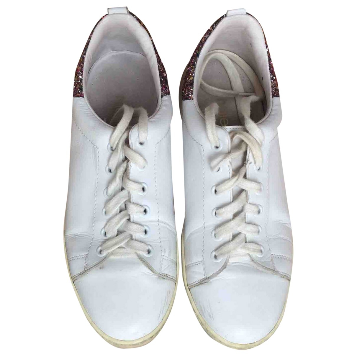 Maje \N White Leather Trainers for Women 39 EU
