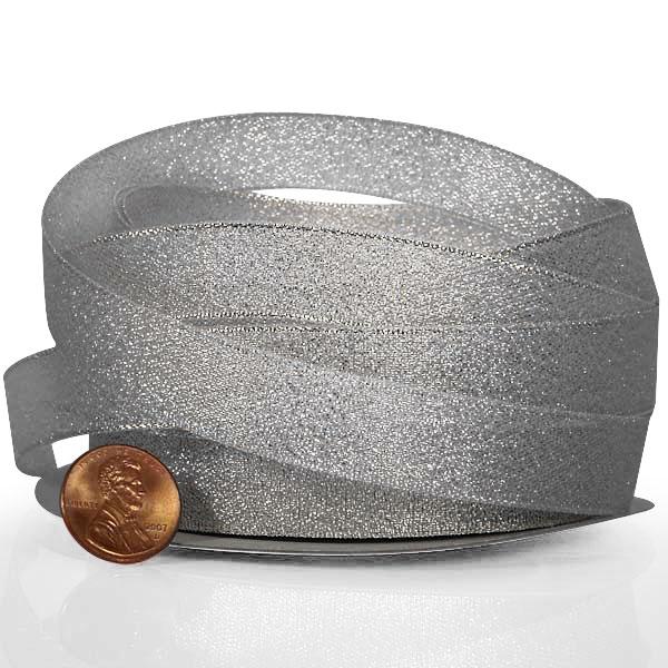 3/8 X 25 Yards Glitter Silver Metallic Crystal Sands-Lurex Ribbon by Ribbons.com