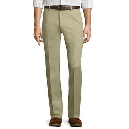 St. John's Bay Stretch Iron-Free Straight-Fit Flat-Front Pants, 38 32, Beige