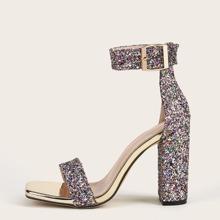Rhinestone Decor Chunky Heeled Sandals