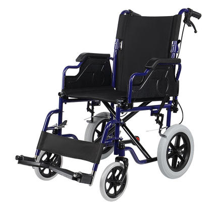 Fauteuil roulant léger et pliable avec repose-pieds pivotants, roue arrière de 12