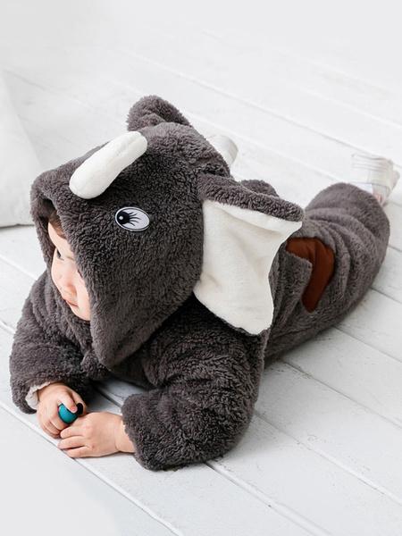 Milanoo Elephant Kigurumi Pajamas Toddler Grey Onesie Flannel Kids Winter Jumpsuit Halloween