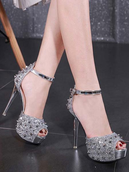 Milanoo Women Sexy High Heels Silver Peep Toe Studed Sexy Sandals