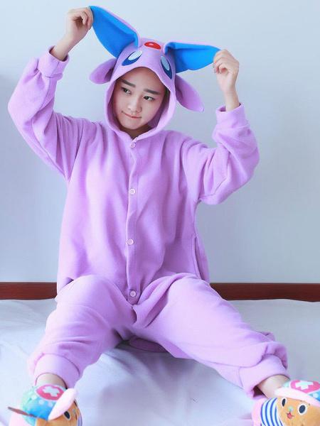 Milanoo Nidoran Kigurumi Pajamas Pokemon Onesie For Adult Purple Flannel Anime Animal Onesie Winter Sleepwear Cosplay Costume Halloween
