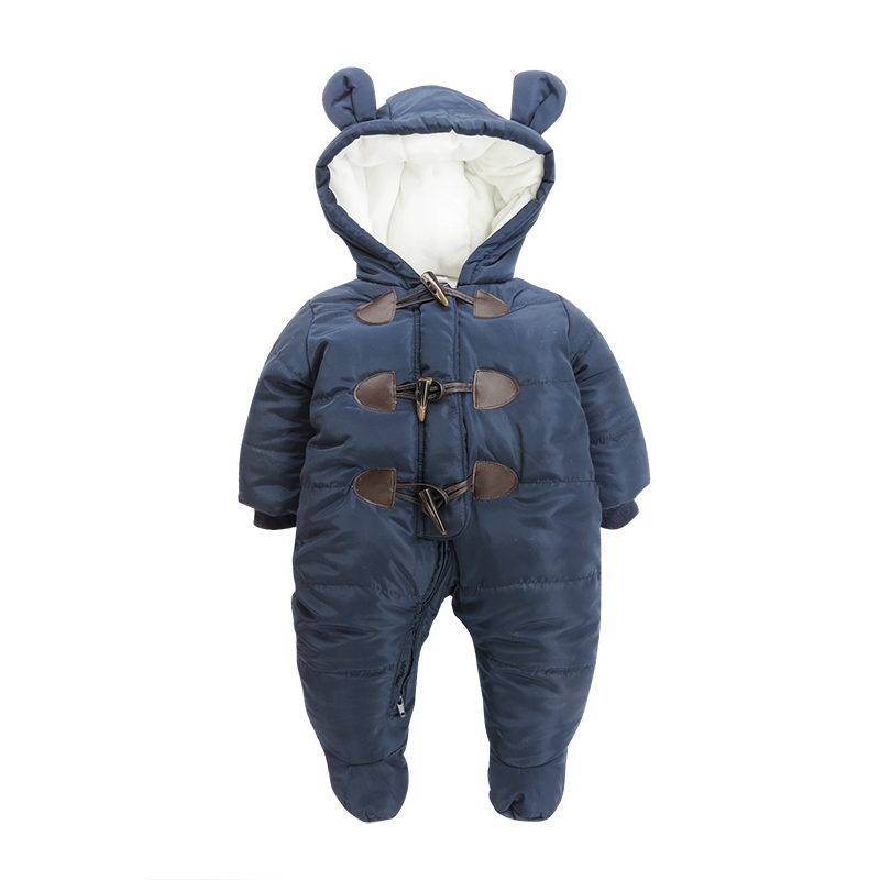 Button Decoration Cotton Simple Style Dark Blue Baby Sleeping Bag/Jumpsuit