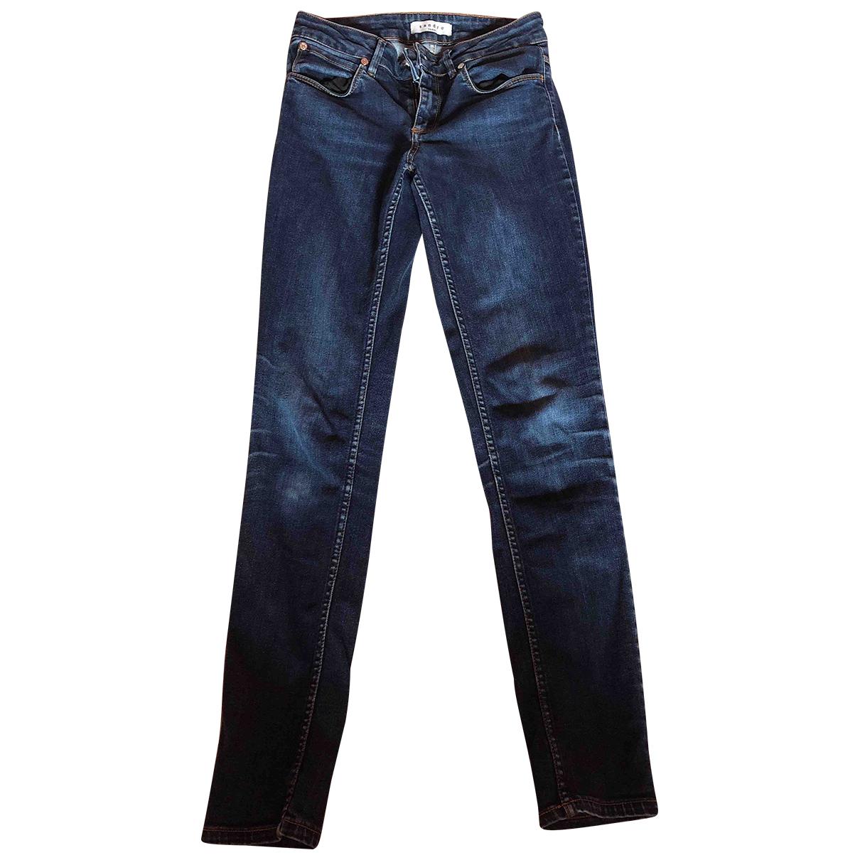 Sandro \N Blue Cotton Trousers for Women 36 FR