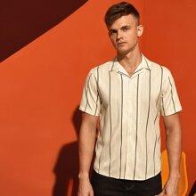Men Vertical Striped Button Up Shirt