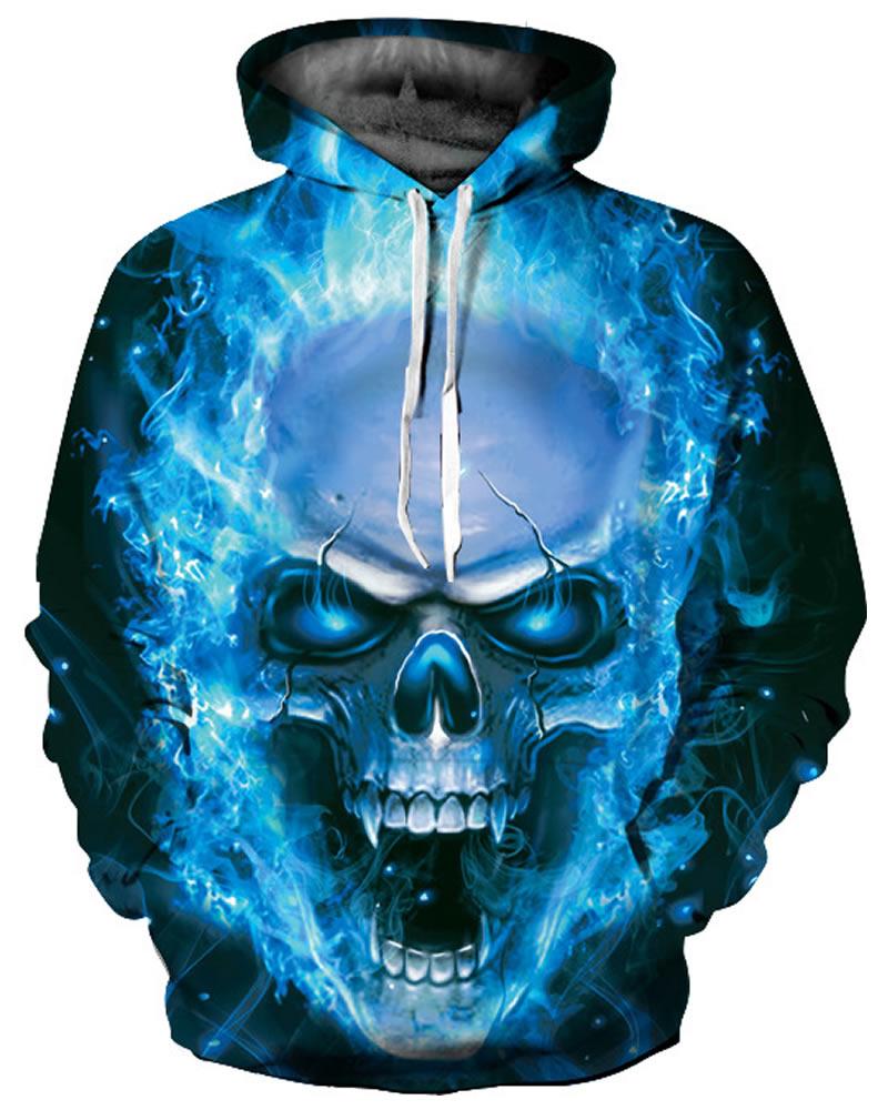 Cool Long Sleeve Skull Roar Pattern 3D Painted Hoodie