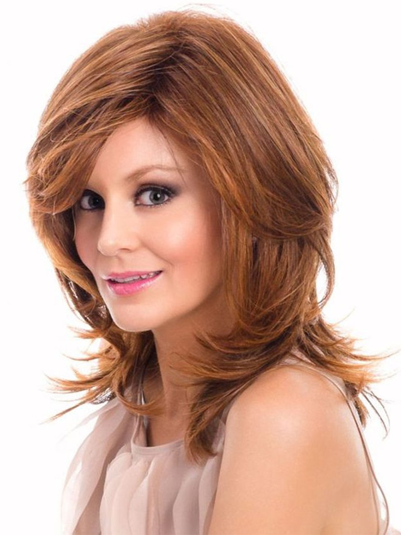 Ericdress Natural Looking Women's Medium Layered Hairstyles Wavy Human Hair Wigs Lace Front Wigs 16Inch