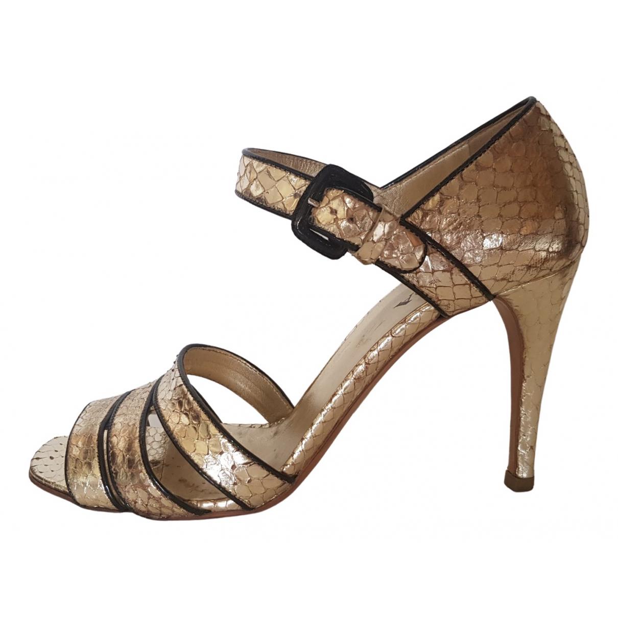 Prada \N Gold Python Sandals for Women 38 EU