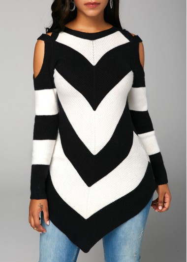 Rosewe Women Sweater Black And White Cold Shoulder Printed Long Sleeve - M