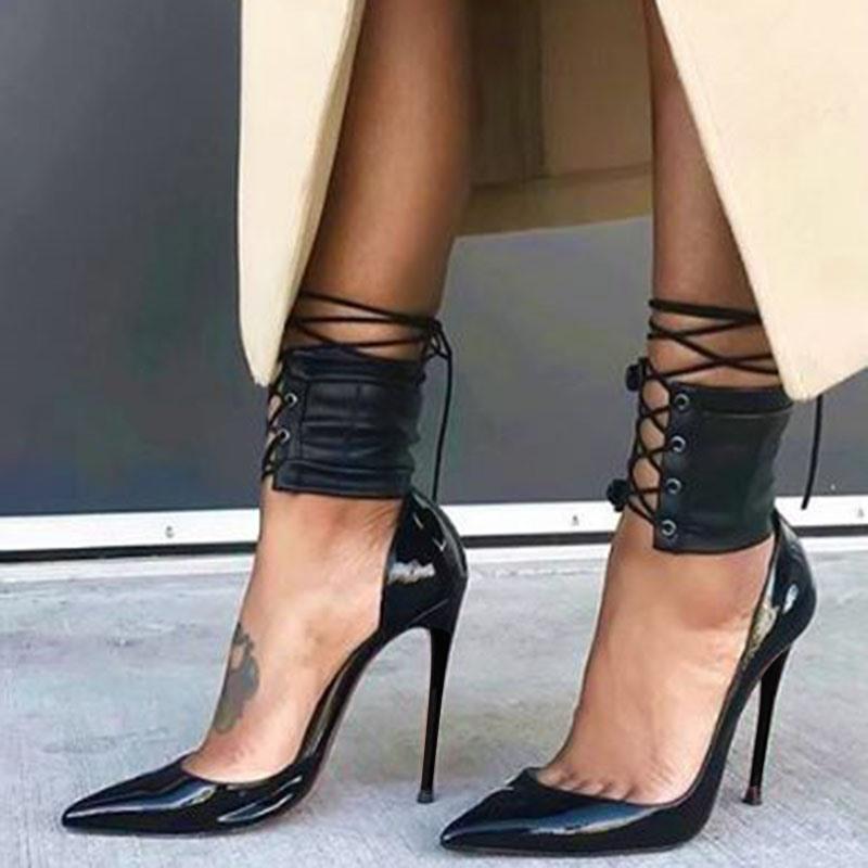 Ericdress Black Pointed Toe Ultra-High Heel Pumps
