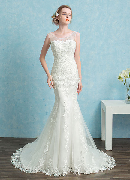 Milanoo Mermaid Wedding Dress Lace Beading Sweetheart Bridal Gown White Backless Illusion Bridal Dress With Chapel Train