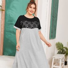 Plus Contrast Lace Two Tone Tee Dress