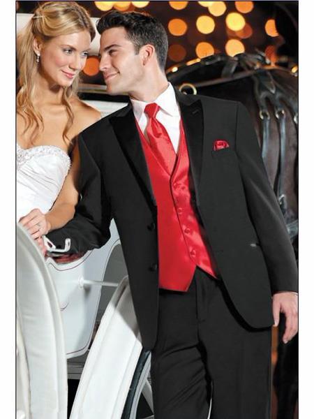Mens Black Suit + Shirt + Red Vest & Tie Package