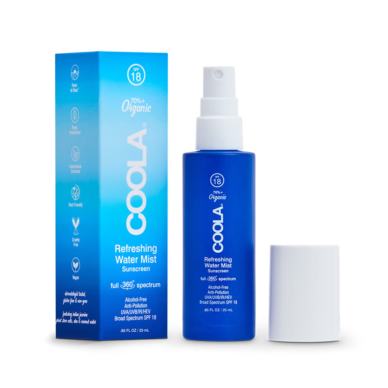 COOLA Refreshing Water Mist Sunscreen full 360 spectrum Broad Spectrum SPF 18 [Travel Size] (0.85 fl oz / 25 ml)