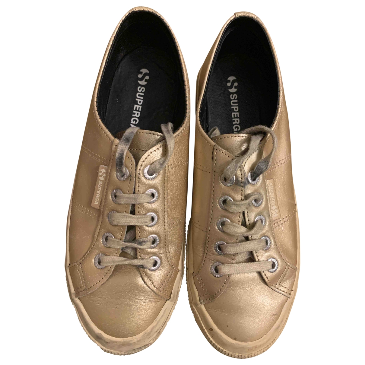 Superga \N Gold Leather Trainers for Women 38 EU