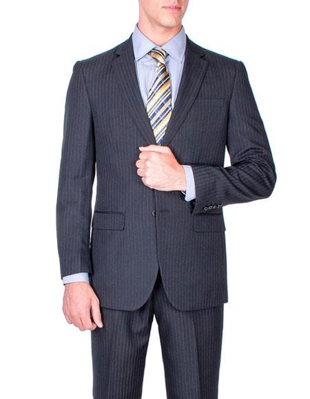 Mens Two Buttons stripe Giorgio Fiorelli Brand suits Flat Front Pants