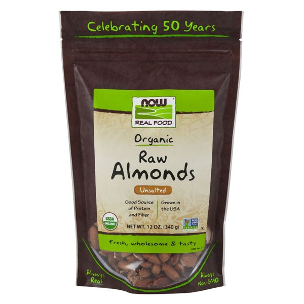 Organic Raw Shelled Almonds 12 Oz by Now Foods