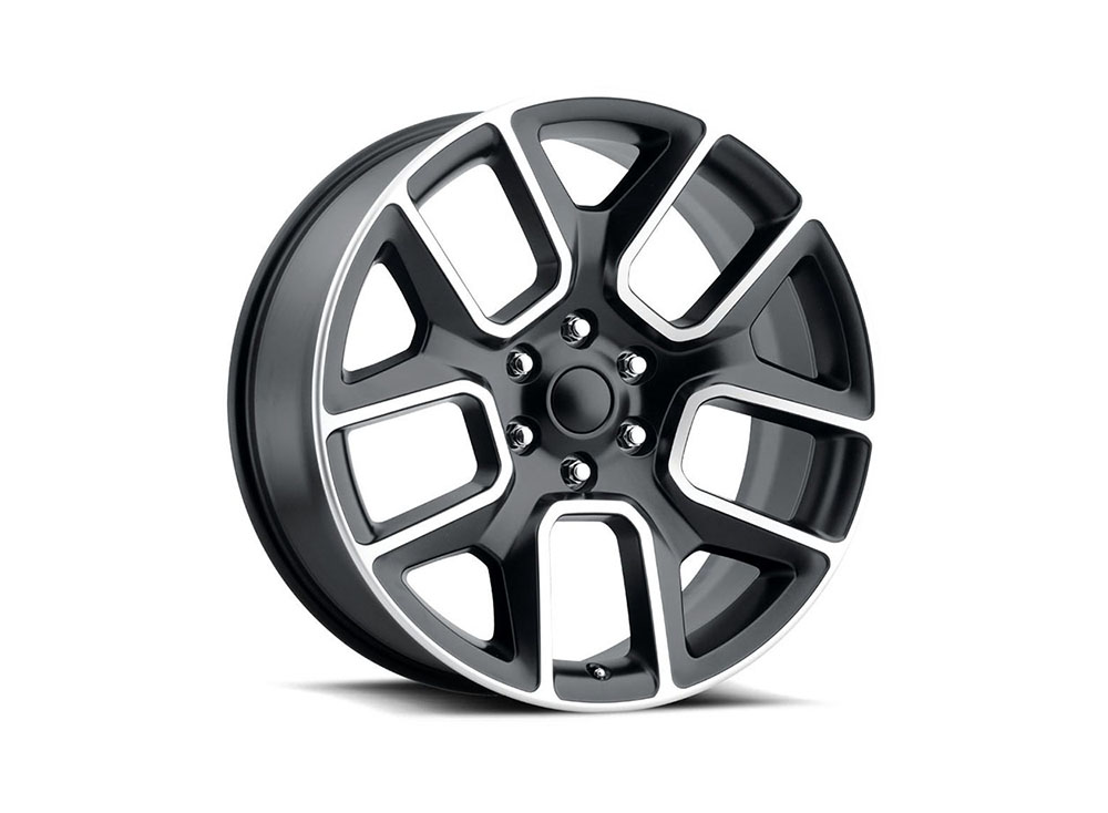 Factory Reproduction Series 76 Wheels 24x10 6x5.5 +25 HB 77.8 19 Ram 1500 Satin Black Mach Face w/Cap