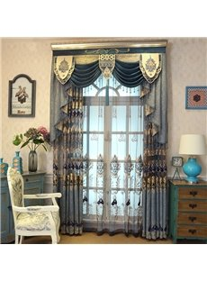 Embroidered Rustic Elegant Organza Grommet Semi Sheer Curtains