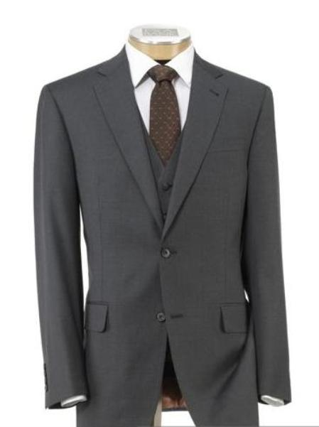 2 Button Mid Grey  Wool Vested Suit with Pleated Trousers Mens