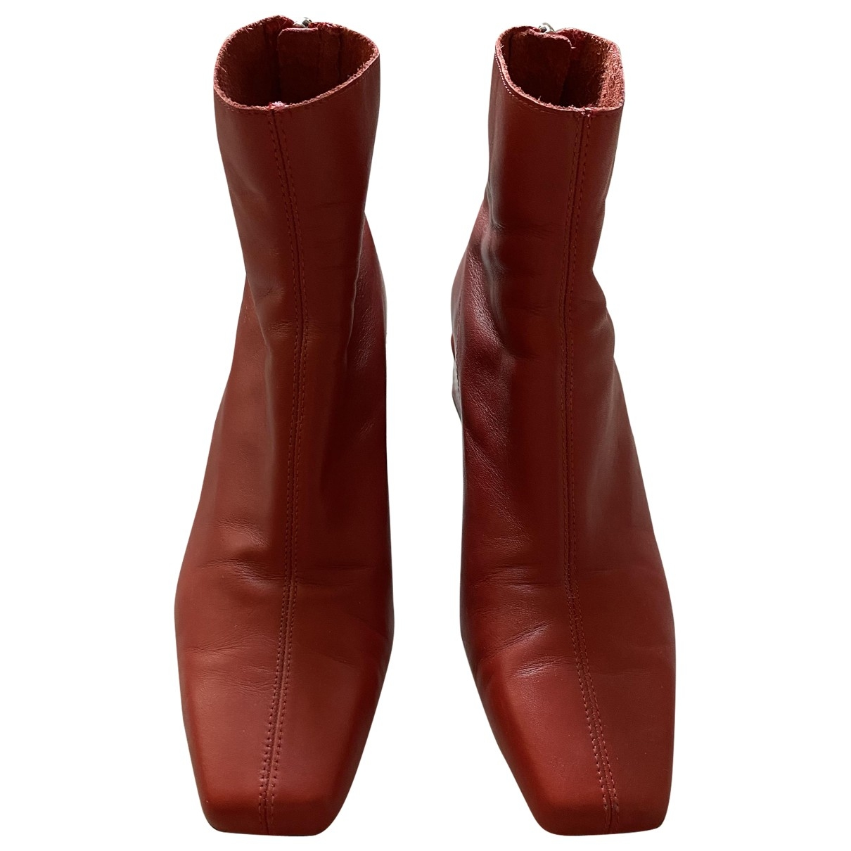 Zara \N Red Leather Boots for Women 39 EU