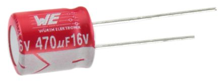 Wurth Elektronik 22μF Polymer Capacitor 50V dc, Through Hole - 870055774002 (2)